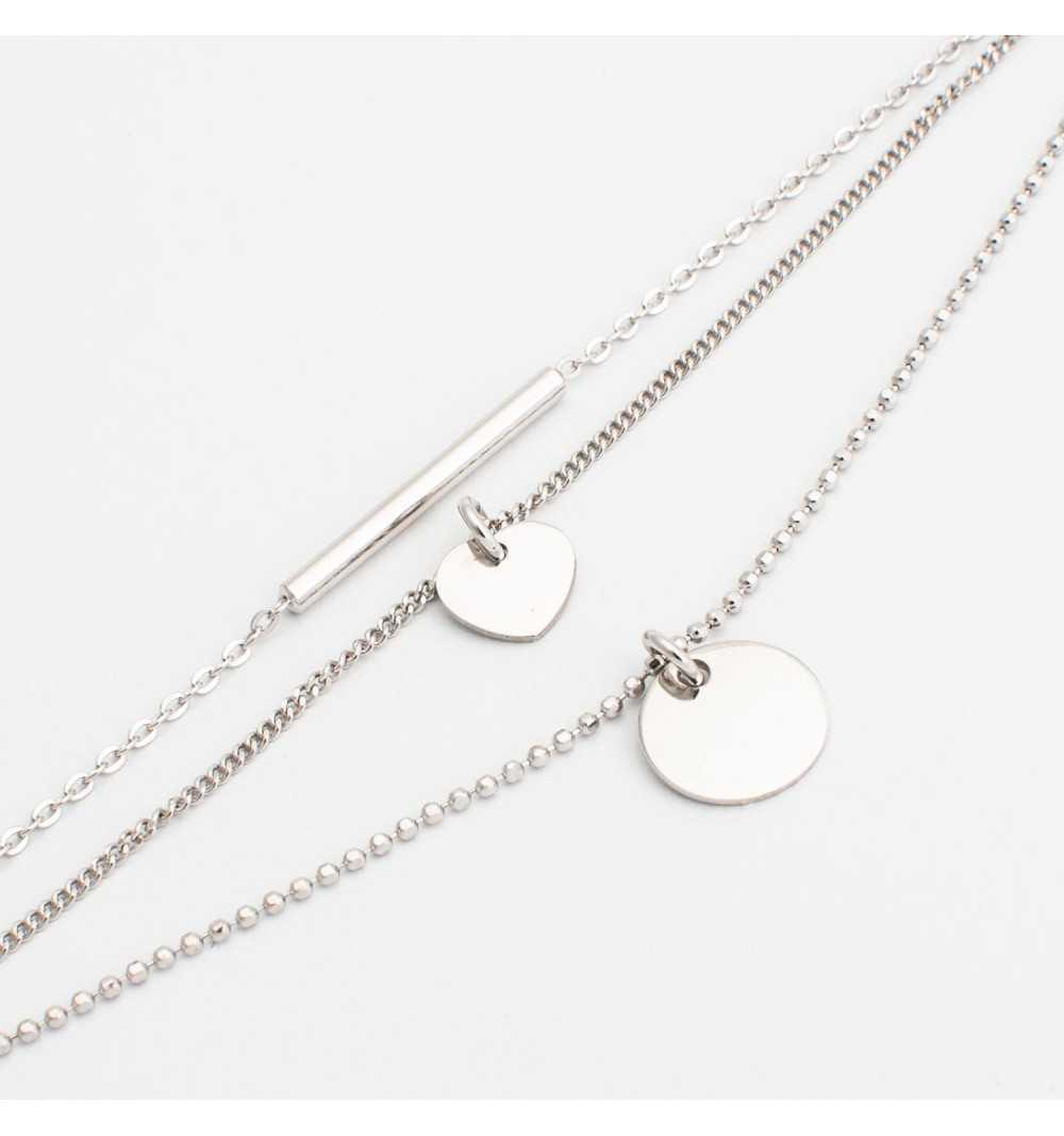 Srebrna bransoletka na trzech łańcuszkach z rurką, kółeczkiem i serduszkiem