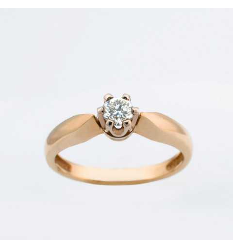 Złoty pierścionek z brylantem 0,19ct
