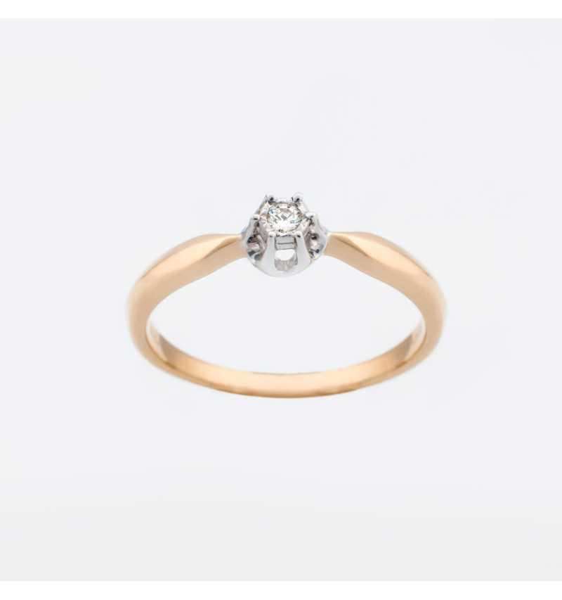 Złoty pierścionek z brylantem 0,04ct