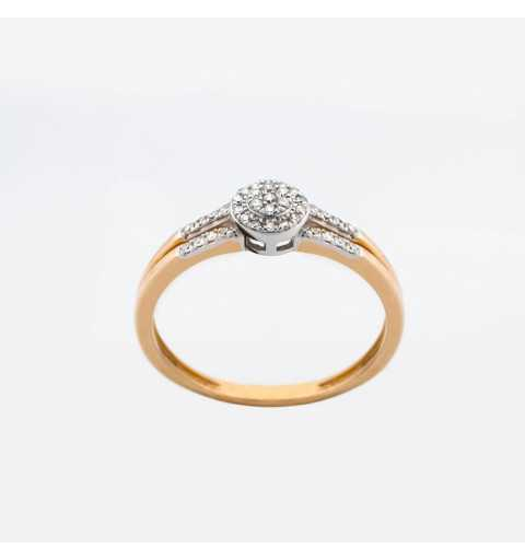 Złoty pierścionek z brylantami 0,13ct