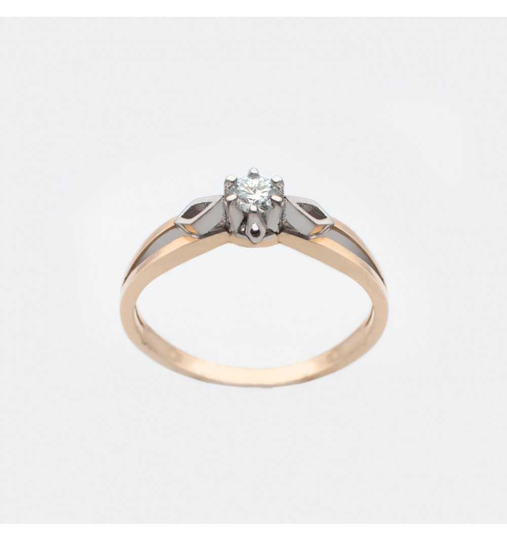 Złoty pierścionek z brylantem 0,11ct