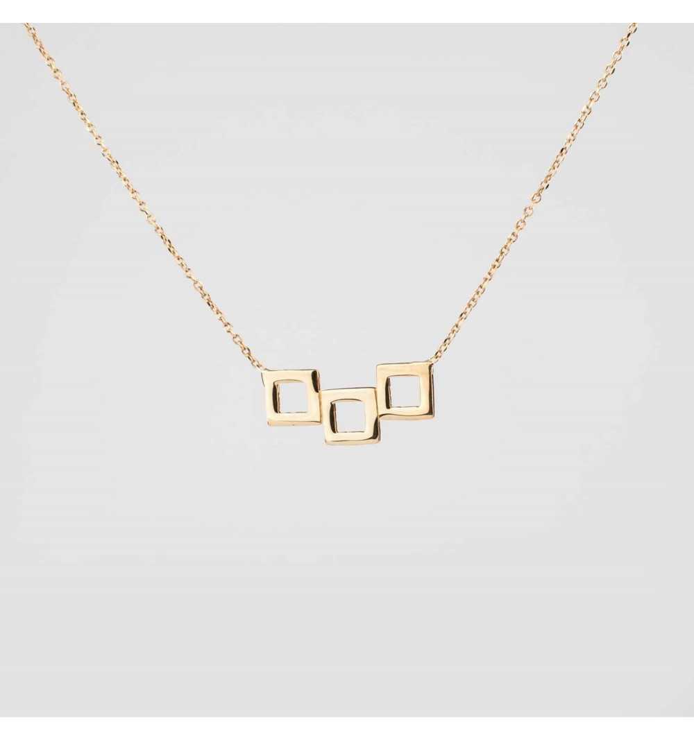 Pozłacany srebrny naszyjnik trzy kwadraty