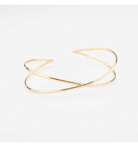 Pozłacana srebrna bransoletka geometryczna - skrzyżowane niezakończone elipsy