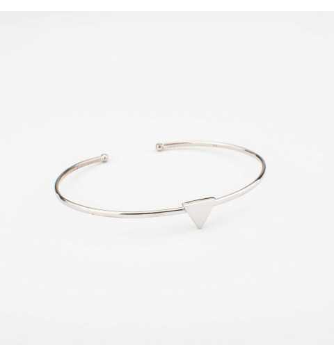 Sztywna srebrna bransoletka z trójkątem