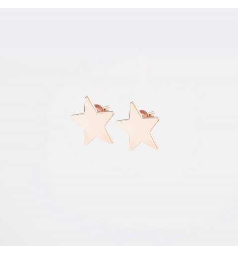 Srebrne kolczyki gwiazdki na sztyfty pozłacane różowym złotem