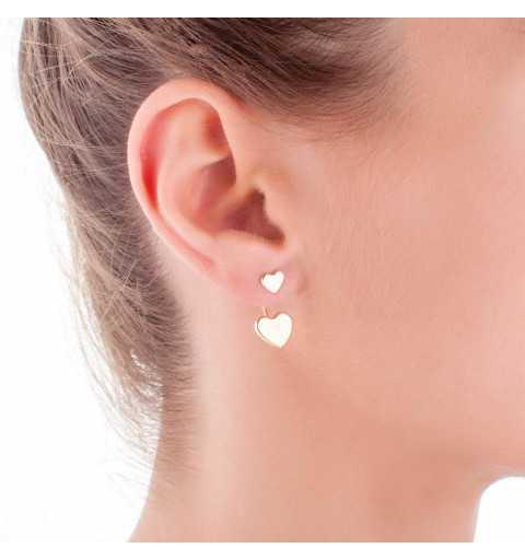 Srebrne kolczyki pozłacane serduszka z zapięciem za ucho