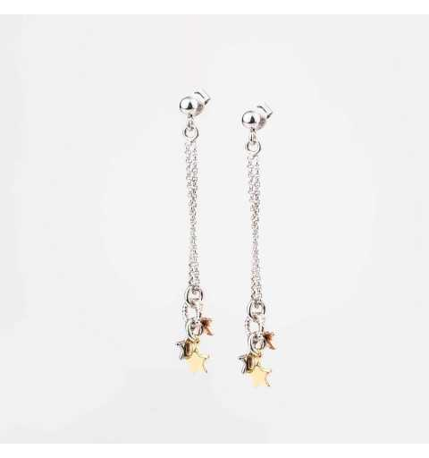 Srebrne kolczyki trójkolorowe gwiazdki na łańcuszkach