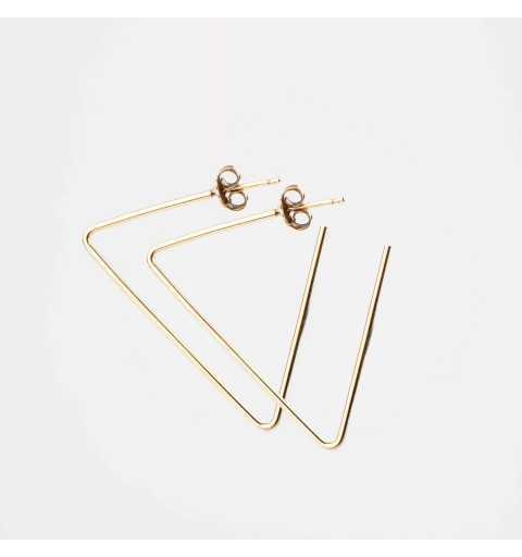 Pozłacane kolczyki geometryczne niezakończone trójkąty na sztyftach