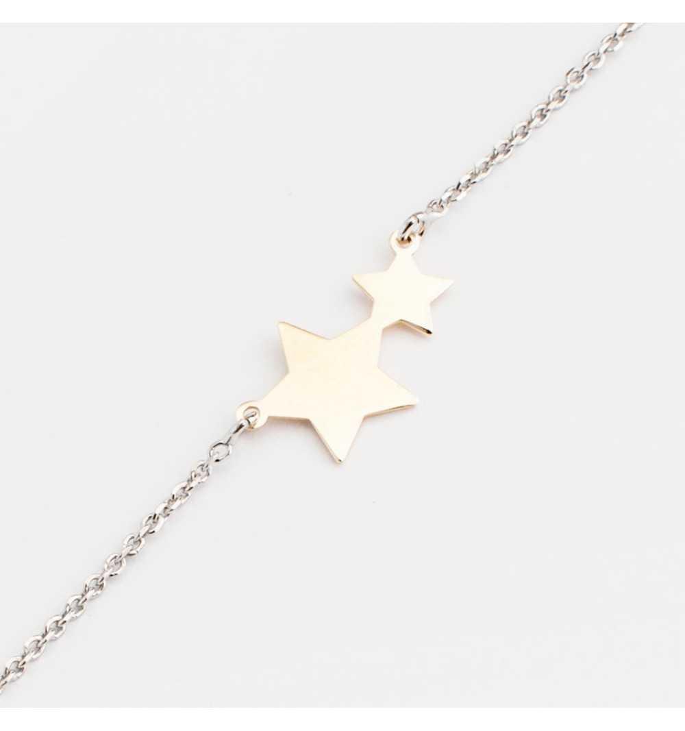 Srebrna bransoletka z pozłacanymi gwiazdkami
