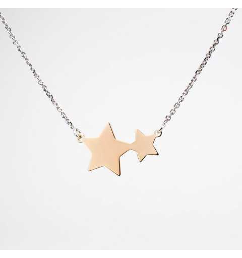 Srebrny naszyjnik z pozłacanymi gwiazdkami