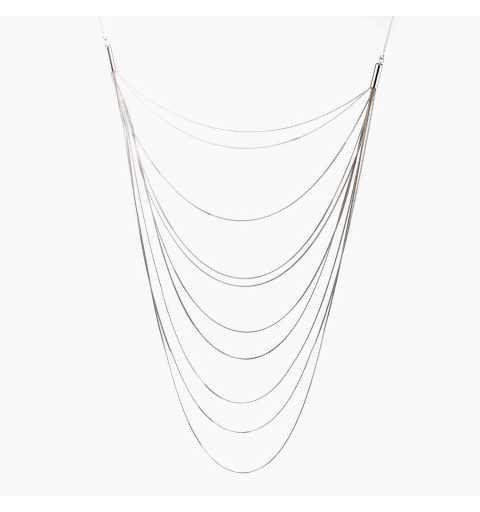 Szykowny srebrny naszyjnik z łańcuszkami na różnej długości