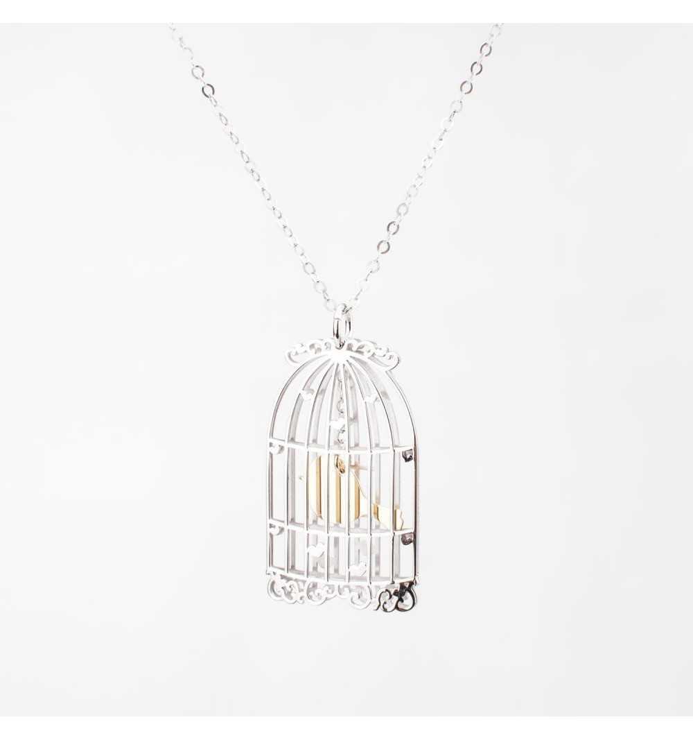 Srebrny naszyjnik z ptaszkiem w klatce