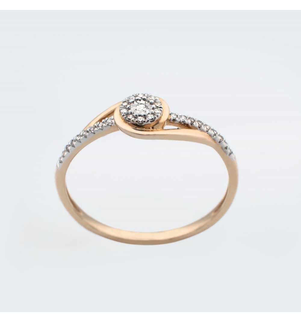 Złoty pierścionek z brylantami 0,07ct