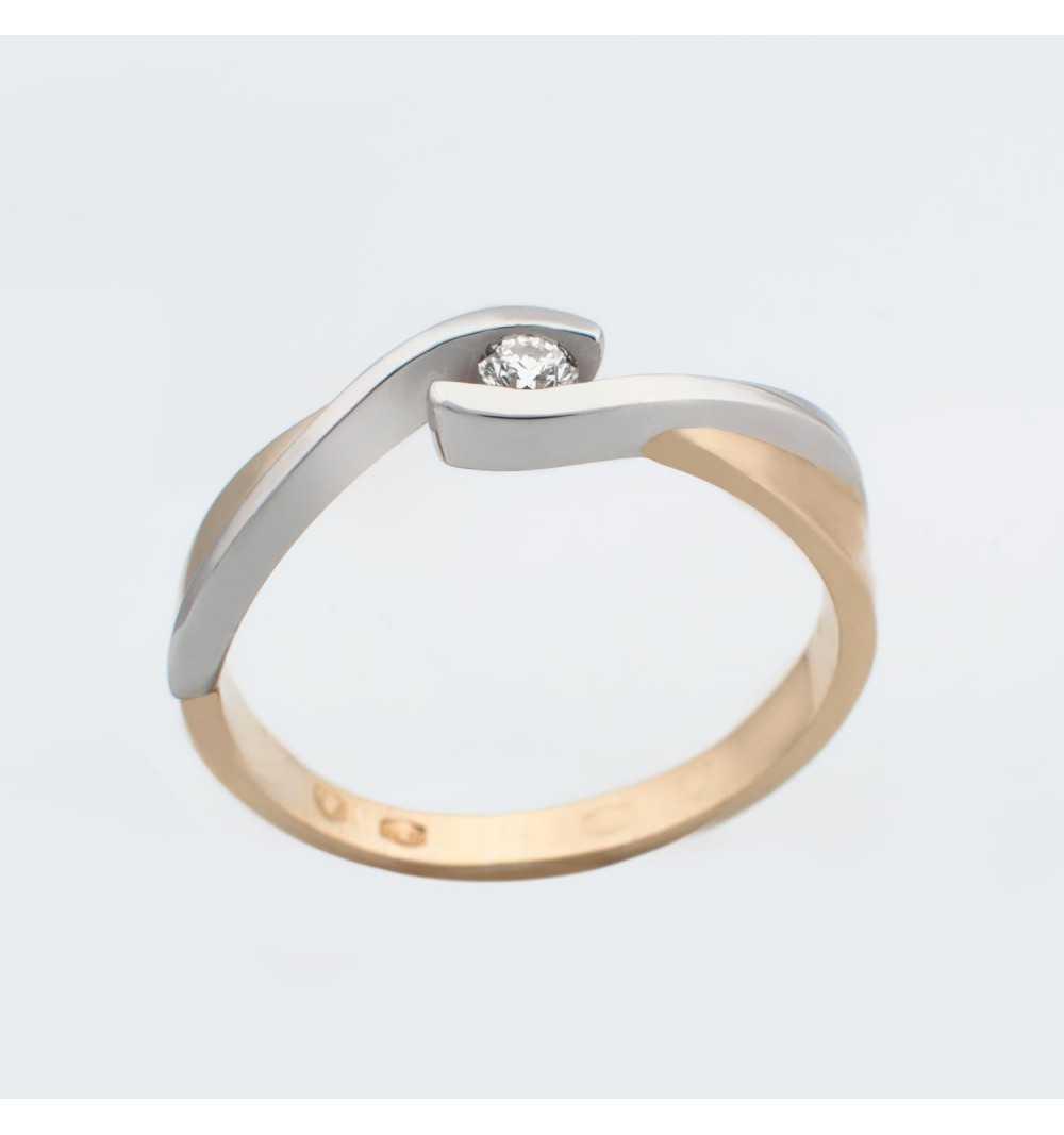 Złoty pierścionek z brylantem 0,06ct