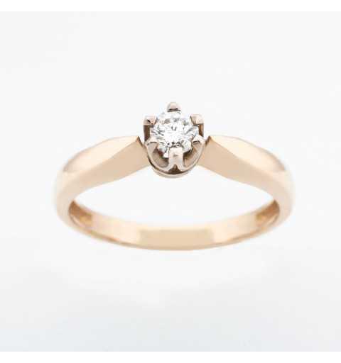 Złoty pierścionek z brylantem 0,16ct