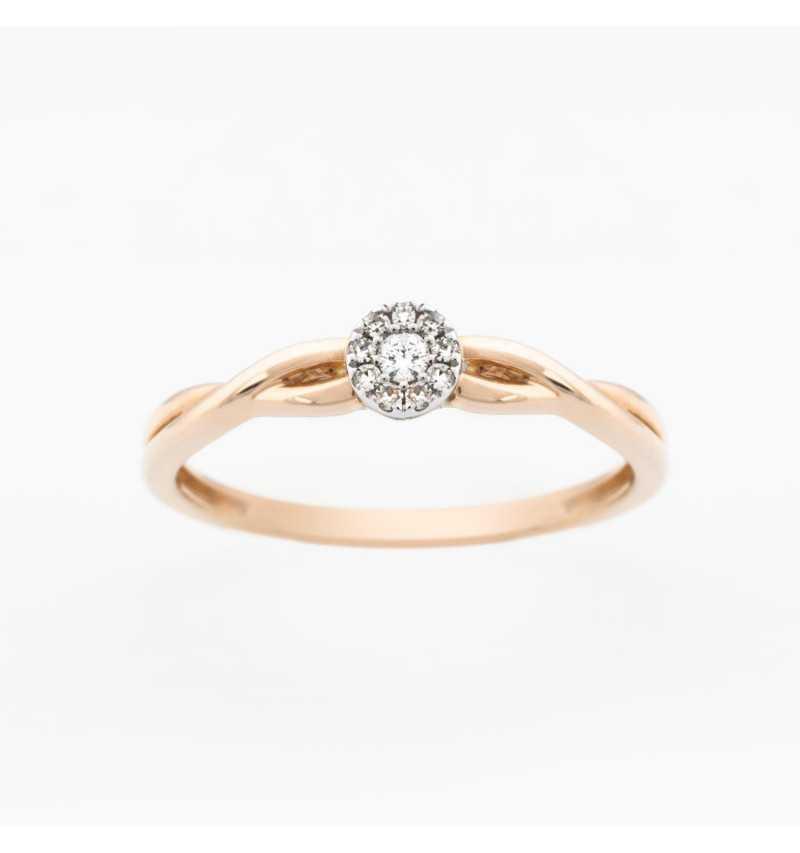 Złoty pierścionek z brylantami  0,06ct