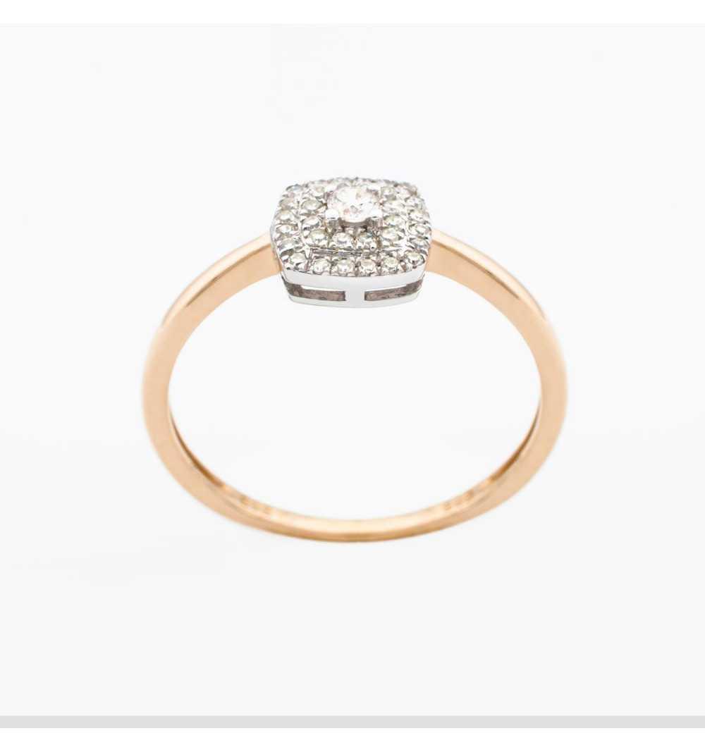 Złoty pierścionek z brylantami 0,14ct