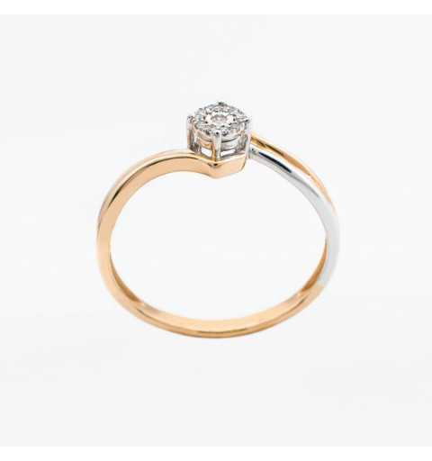 Złoty pierścionek z brylantami 0,04ct