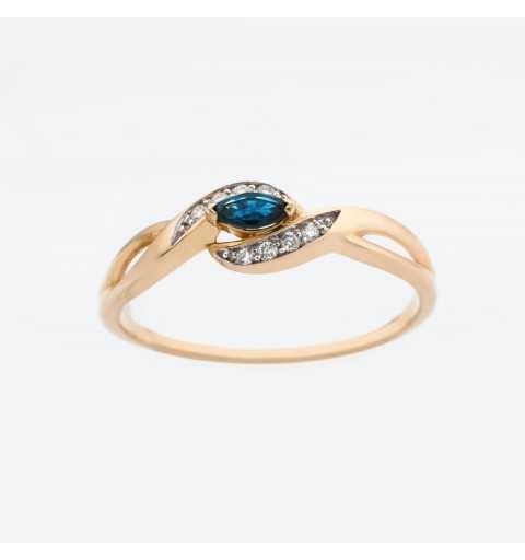 Złoty pierścionek z szafirem i brylantami 0,04ct