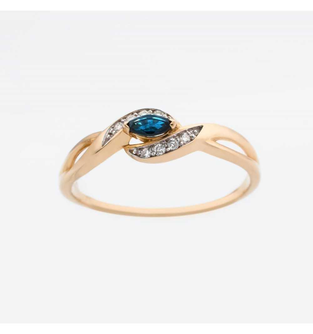 Złoty pierścionek z brylantami i szafirem 0,04ct