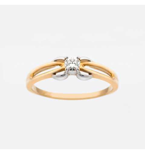 Złoty pierścionek z brylantem 0,13ct