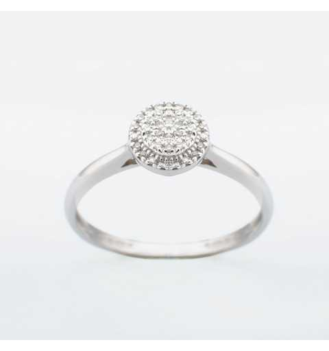 Złoty pierścionek z brylantami 0,08ct