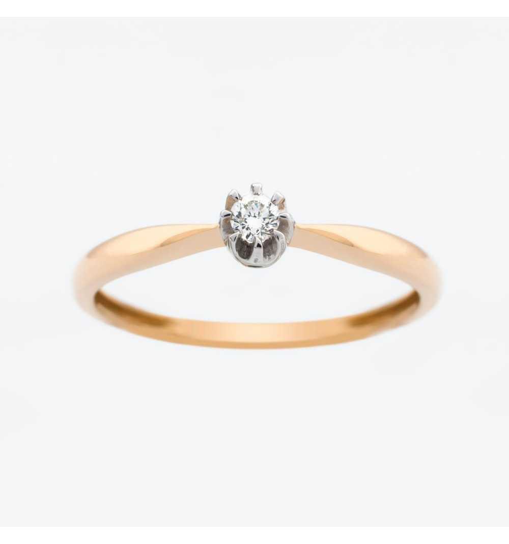Złoty pierścionek z brylantem 0,05ct