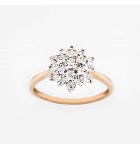 Złoty pierścionek z brylantami 0,09ct