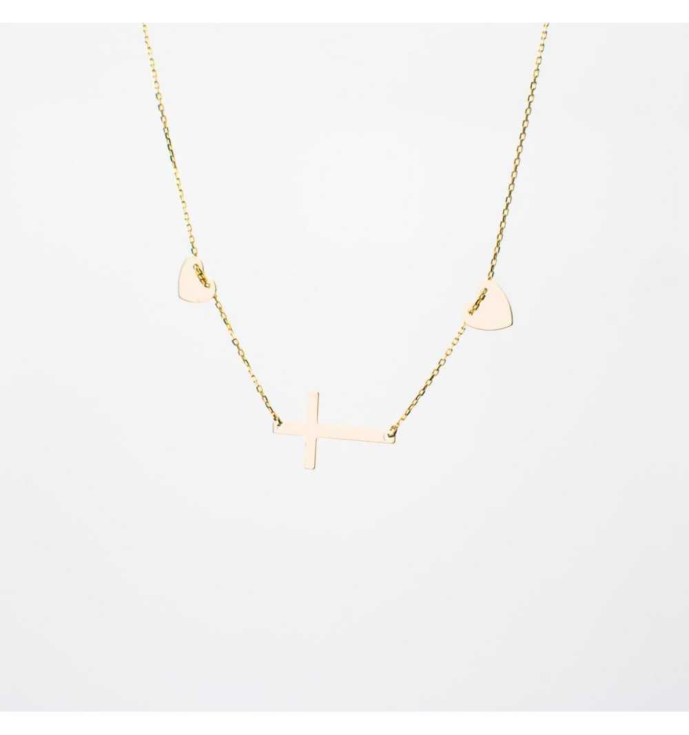 Złoty naszyjnik celebrytka z serduszkami i krzyżykiem
