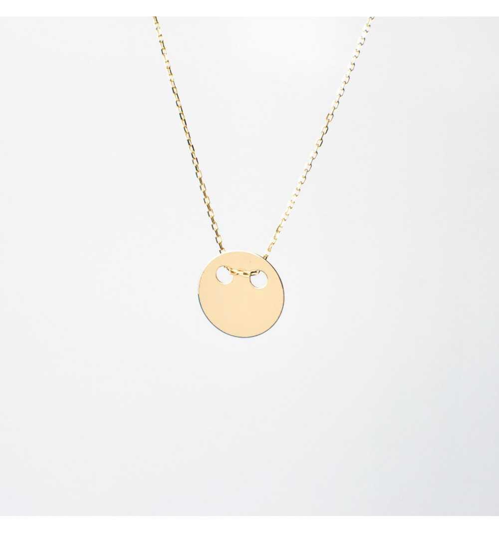 Złoty naszyjnik celebrytka kółko z dziurkami