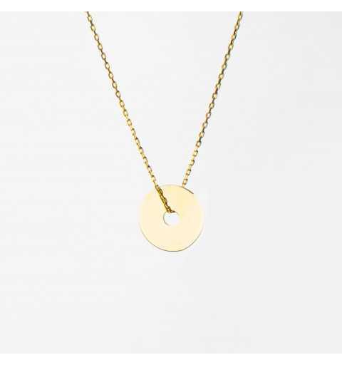 Złoty naszyjnik celebrytka kółeczko z dziurką
