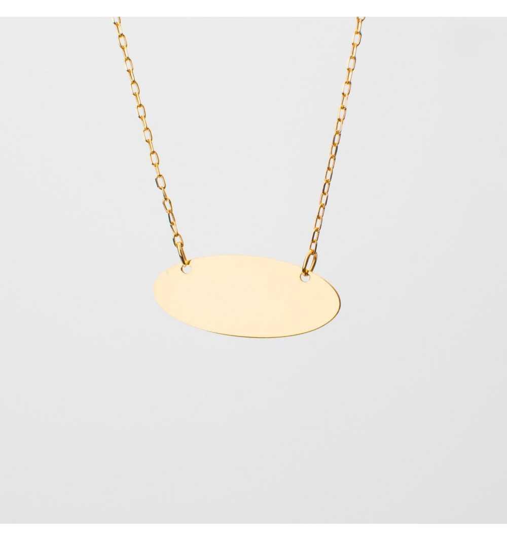 Złoty naszyjnik celebrytka z owalną złotą blaszką