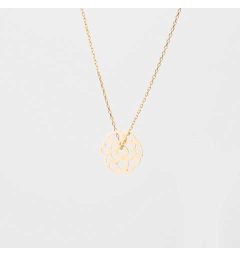 Złoty naszyjnik celebrytka kwiatek