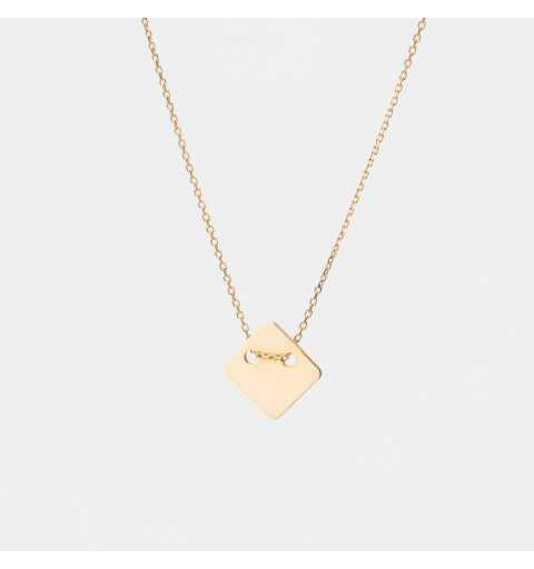 Złoty naszyjnik celebrytka z blaszką w kształcie rombu