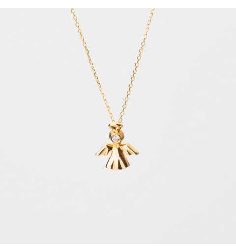 Złoty naszyjnik celebrytka aniołek z cyrkonią