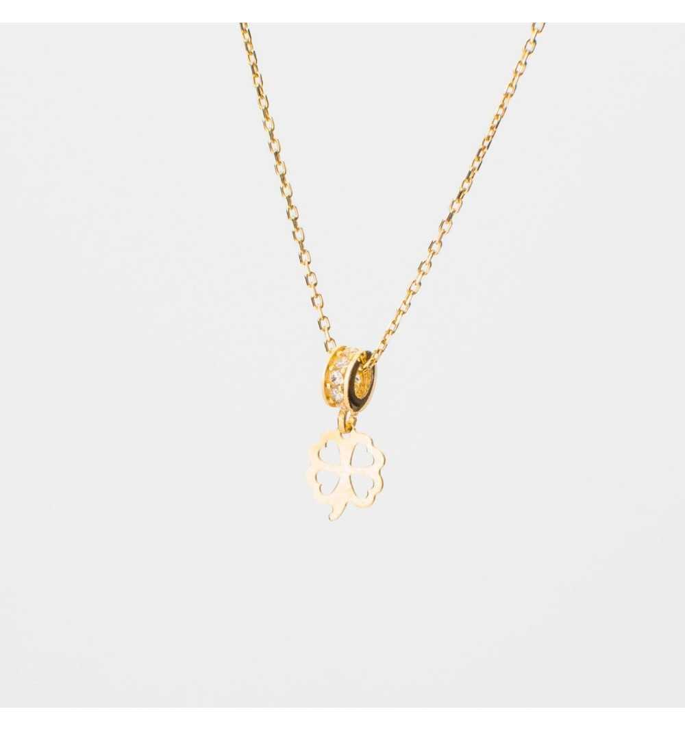 Złoty naszyjnik celebrytka koniczyna