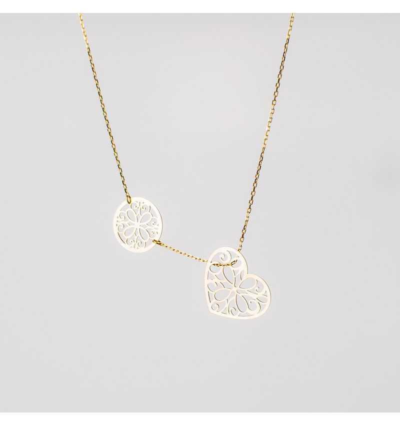Złoty naszyjnik celebrytka z ornamentowym sercem i kółkiem