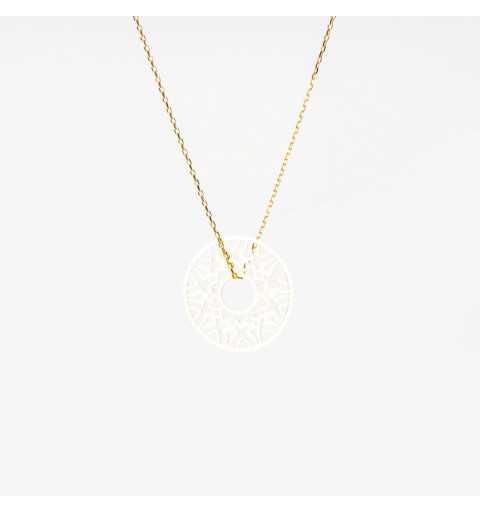 Złoty naszyjnik celebrytka ornamentowe kółko z dziurką