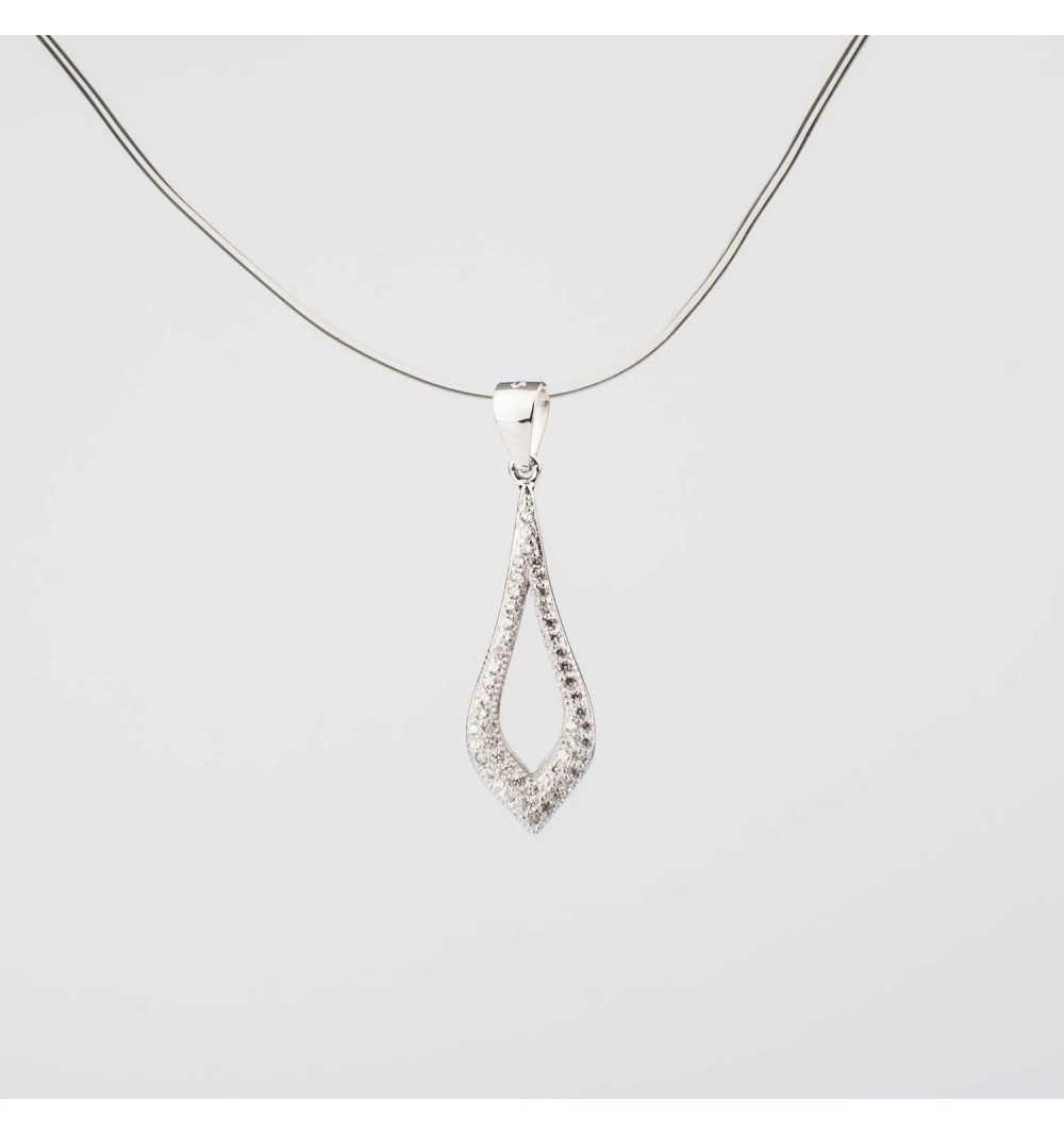 Długa srebrna zawieszka z elegancką łezką wysadzana cyrkoniami