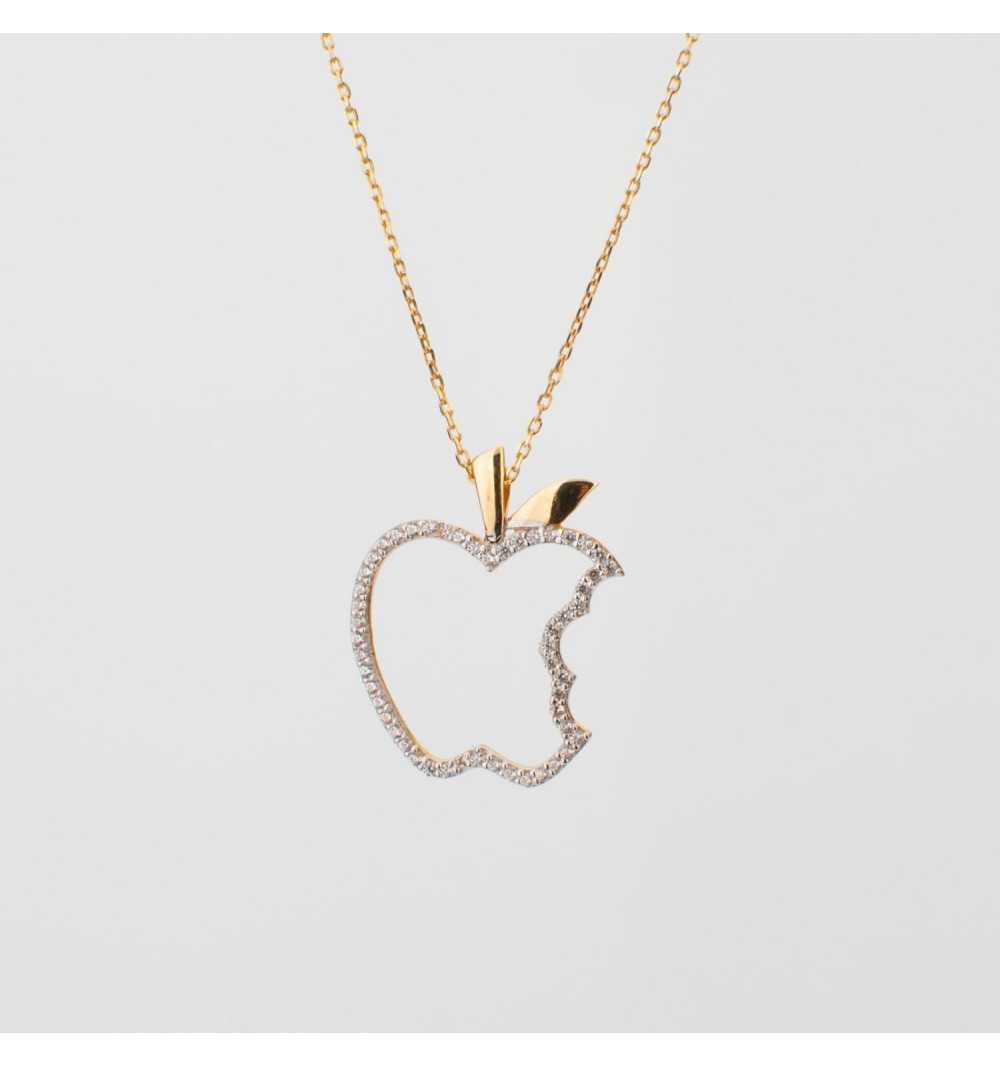 Złoty naszyjnik nadgryzione jabłko