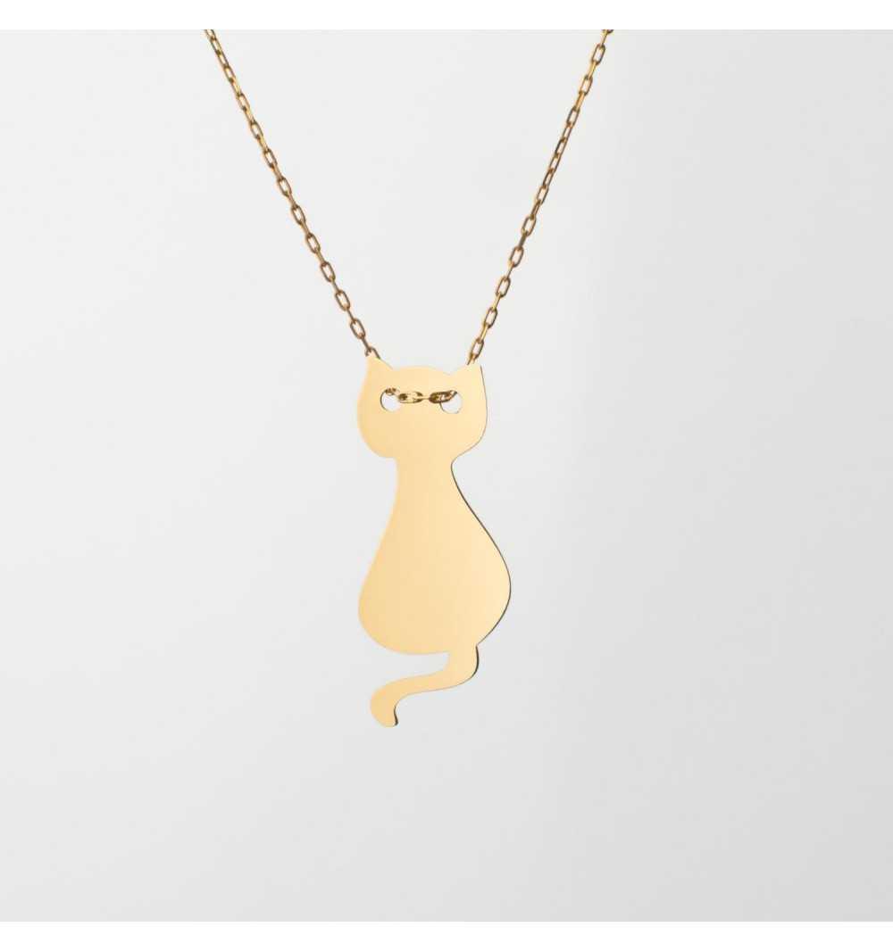 Złoty naszyjnik celebrytka kotek
