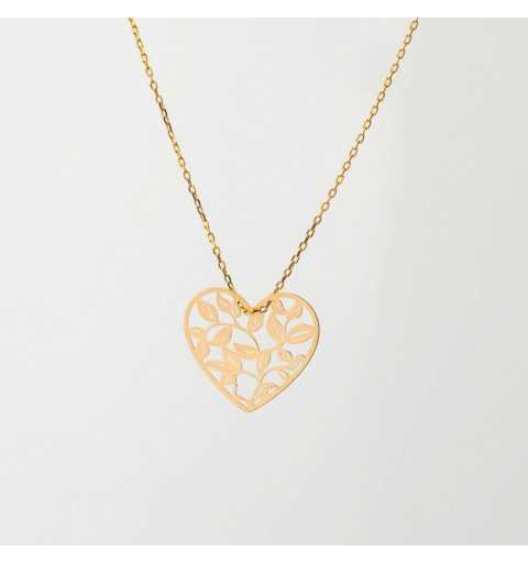 Złoty naszyjnik celebrytka ornamentowe serce