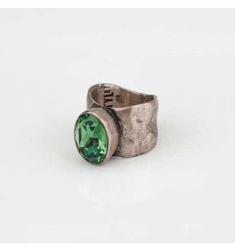 Srebrny pierścionek MOTYLE antyczna szarość z zielonym kryształem Swarovskiego