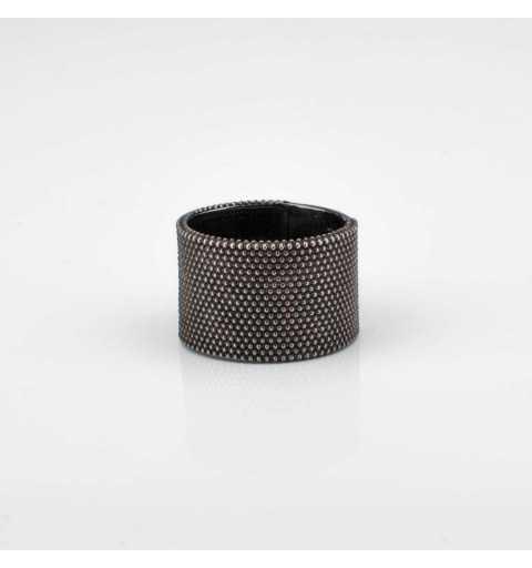 Srebrny pierścionek MOTYLE grafitowy blask (czarny rod)