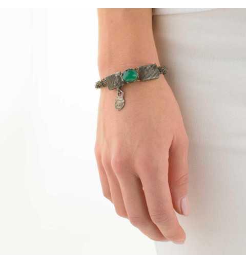 Srebrna bransoletka MOTYLE grafitowy blask (czarny rod) kamień naturalny zielony agat