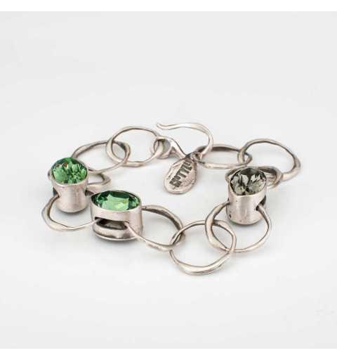 Srebrna bransoletka MOTYLE z dwukolorowymi kryształami Swarovskiego
