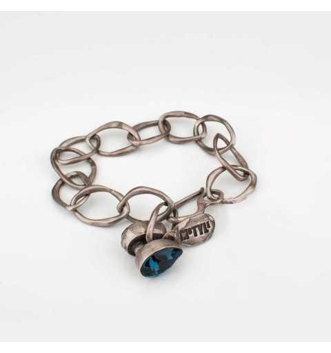 Srebrna bransoletka MOTYLE antyczna szarość z granatowym kryształem Swarovskiego