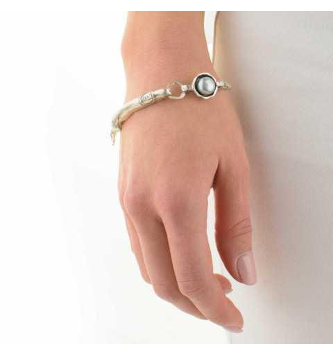 Srebrna bransoletka MOTYLE antyczna szarość z perłą słodkowodną