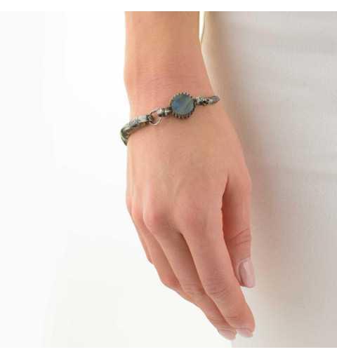 Srebrna bransoletka MOTYLE grafitowy blask (czarny rod) kamień naturalny labradoryt