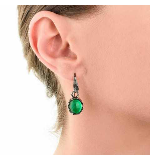 Srebrne kolczyki MOTYLE grafitowy blask (czarny rod) kamień naturalny zielony agat